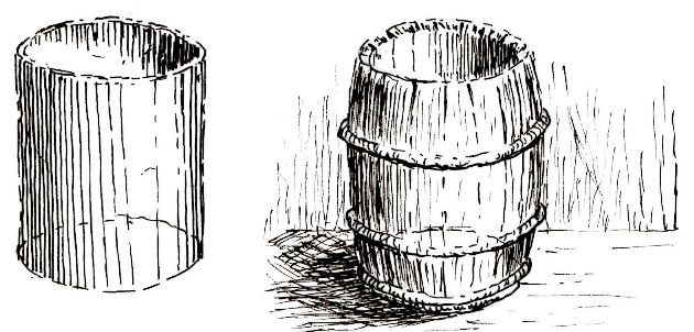 Drawing a barrel and drum using pen and ink