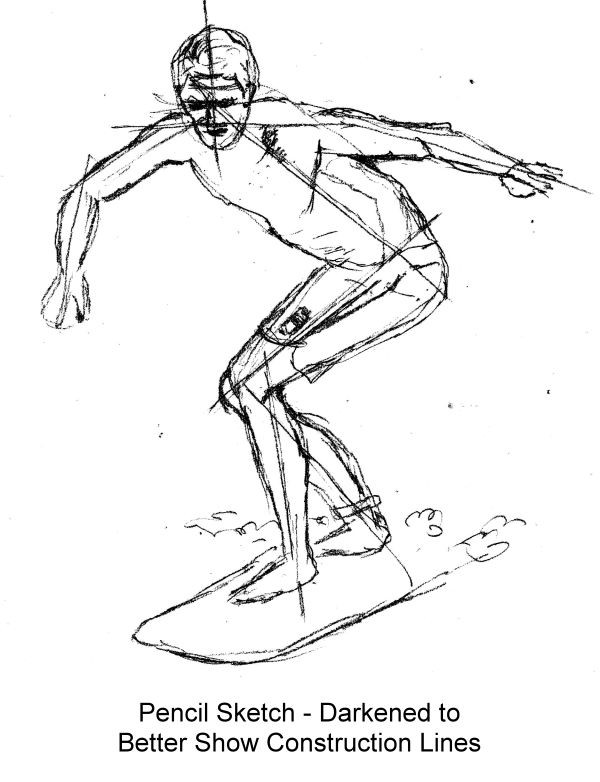 Planning sketch in pencil of surfer