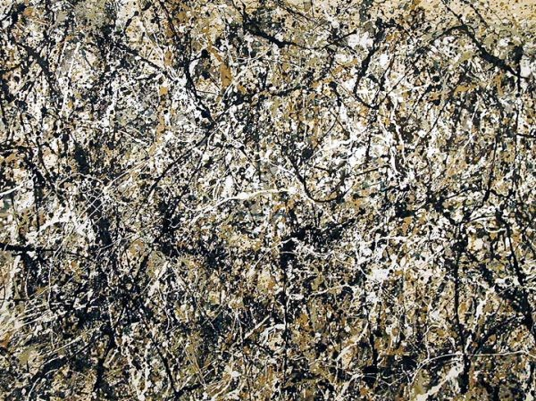 Close up image of one of Jackson Pollock's most well renowned works of abstract expressionism titled Number 1.