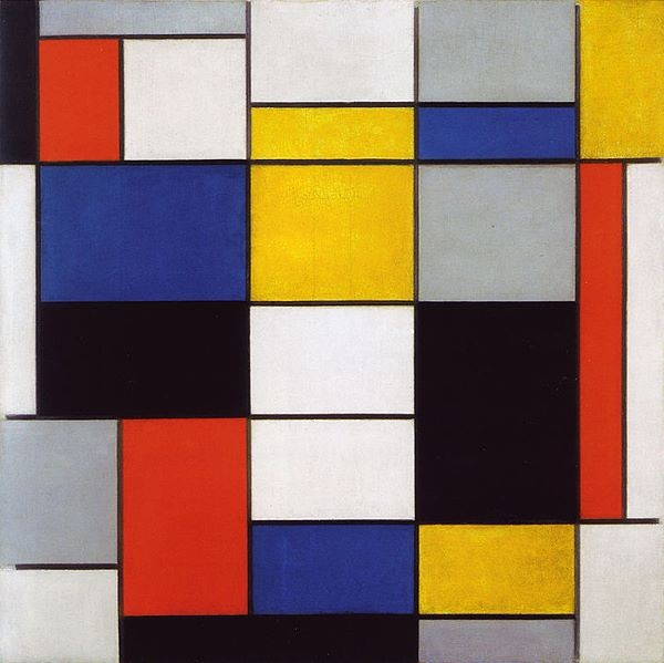 Image of Piet Mondrian's Abstract painting titled Composition A.
