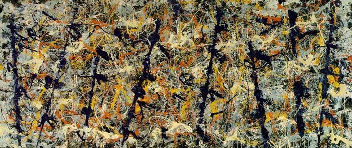 One of the key abstract expressionist paintings, the Blue Poles by Jackson Pollock