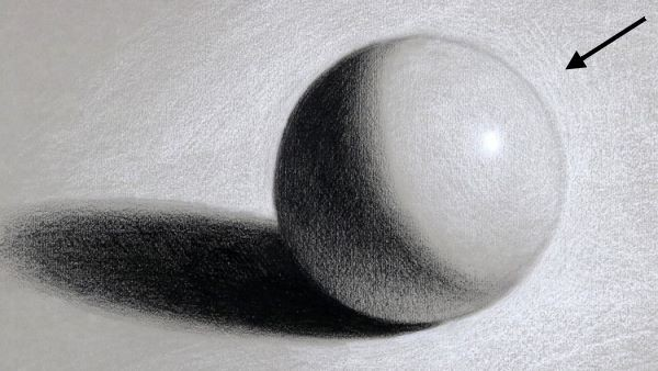 drawn ball value study showing reflected light