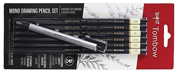 Tombow pencil set with mono eraser
