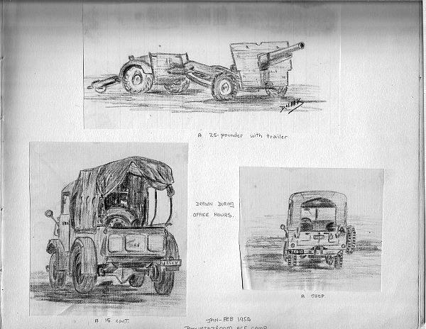 Sample sketches of army equipment