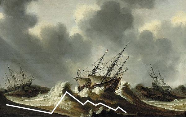 zigzag lines of rough sea painting