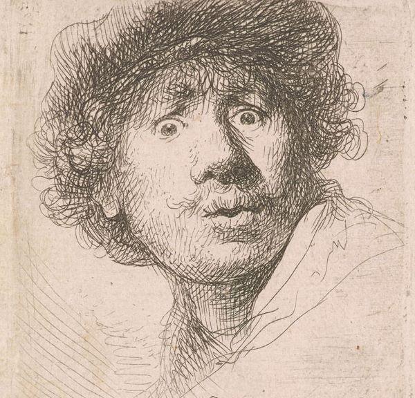 Rembrandt self portrait showing 3 dimensional lines