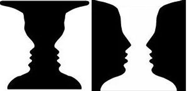 positive vs negative shapes - faces vs candlestick