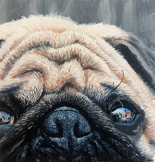 How to paint realistic pug wrinkles in this dog painting course