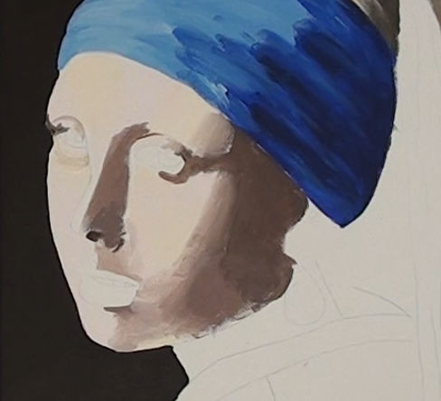 girl with pearl earring- painting the portrait base layer background