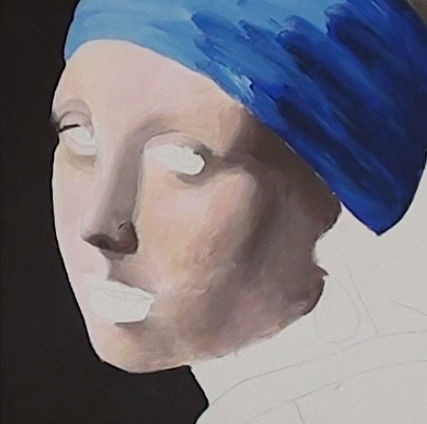 girl with pearl earring- painting the portrait rough layer background
