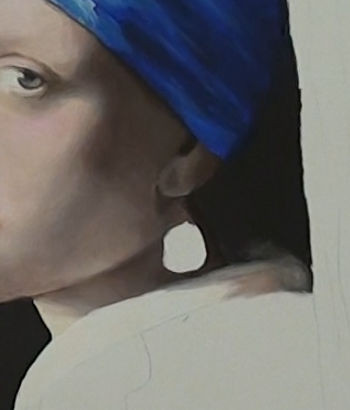 girl with pearl earring- painting the collar