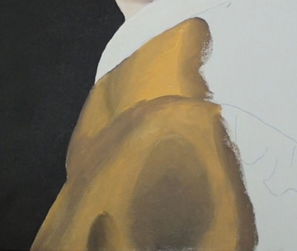 girl with pearl earring- painting the front of the blouse
