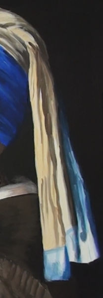 girl with pearl earring- painting the back of the headdress
