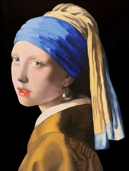 completed girl with pearl earring painting