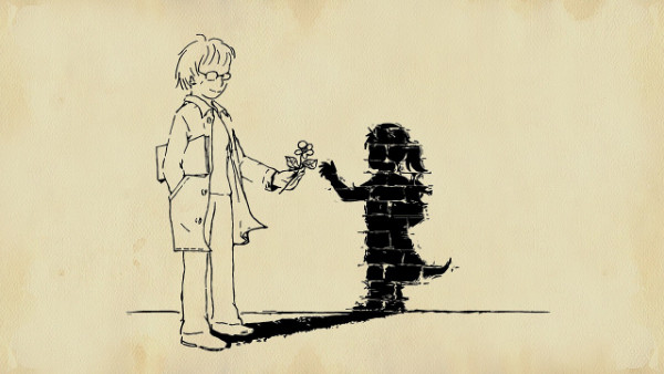 use imagination to create a narrative - boy handing shadow a flower