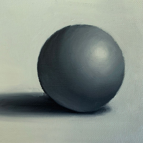 painting a ball using oil paint